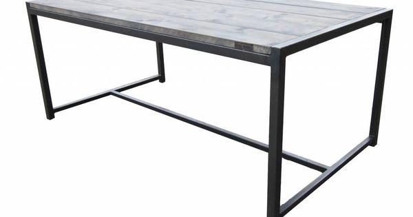 Stoer metaal tafel met steigerhouten blad dakterras pinterest met - Am pm meubels ...