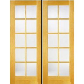 10 Lite French Solid Core Pine Reversible Interior French Door Common 80 In X 48 In Actual 81 5 In French Doors Interior French Doors Exterior Patio Doors