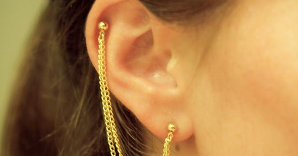 gold chain ear piercing