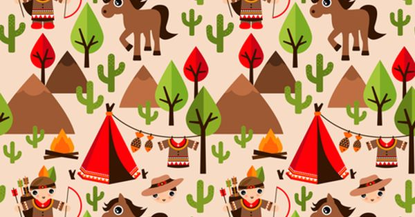 Colorful Fabrics Digitally Printed By Spoonflower Cowboy And Indian Western Kids Theme With Teepee Tent And Horses Pattern Wallpaper Spoonflower Zelda Quilt