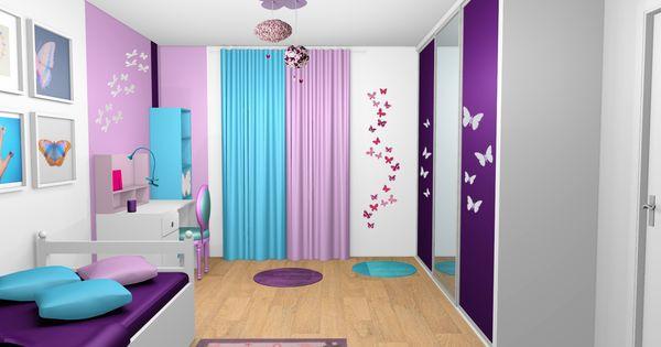 Chambre fille violet mauve turquoise papillons bandes peinture idees peinture pinterest - Chambre mauve et turquoise ...
