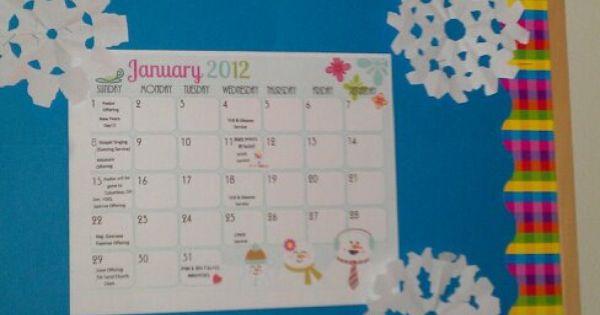 Winter Announcement Board At Church Bulletin Boards