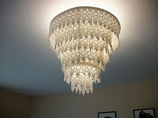 Revamped Lamp Shade Turned Into Lace Chandelier Home Sweet Home Diy Chandelier Rustic Lamp Shades Diy Shades