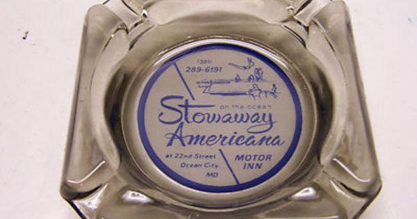 Vintage Ashtray Stowaway Americana Motor Inn Ocean City Md