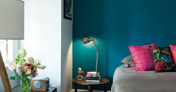 Chambre coucher en bleu turquoise d co et cie for Chambre a coucher bleu turquoise