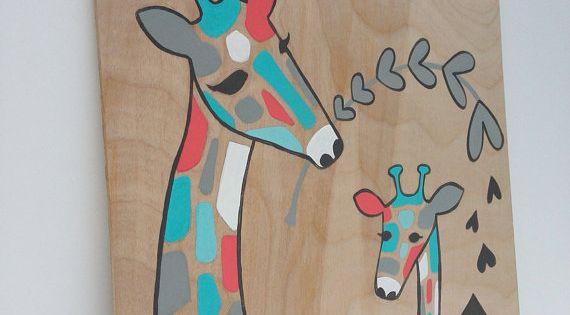 Hand painted Aqua and Coral Giraffe Nursery Art, Coral and Aqua Giraffe