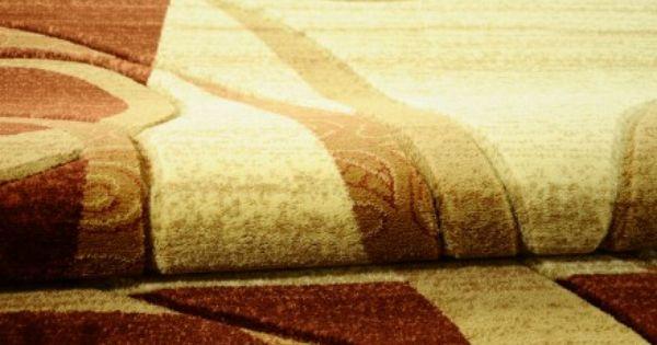 Dywan ręcznie wycinany Wstęgi na prostokącie brąz