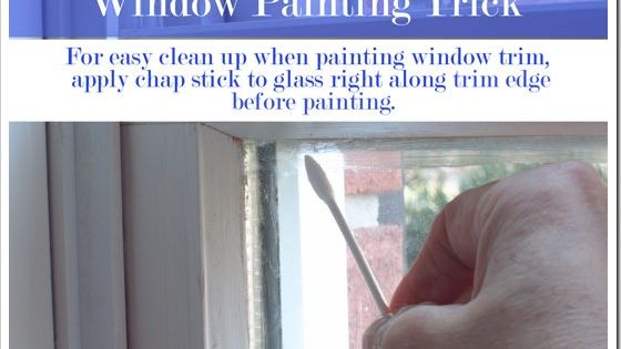 How to paint window trim - apply chap stick to glass for