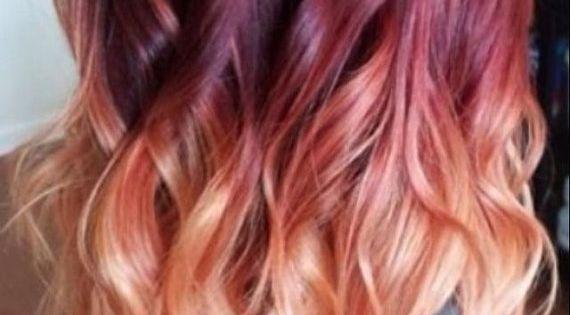 Red violet peach ombre hair auburn ombre par - Ombre et hair ...