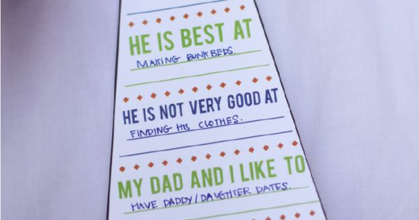 "free printable ""my dad is my hero"" tie card card... SO cute"