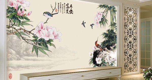 D coration murale papier peint tapisserie asiatique - Decoration murale papier peint ...