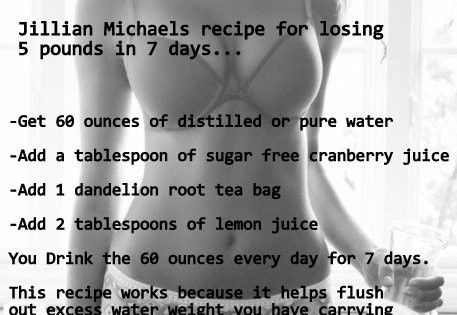 Jillian Michaels Detox drink - Jillian Michaels recipe for losing 5 pounds