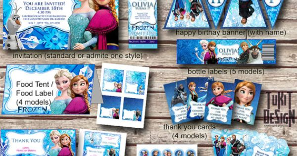 Disney Frozen Party Kit BIRTHDAY party Printable - Invitation, favor tags, bottle