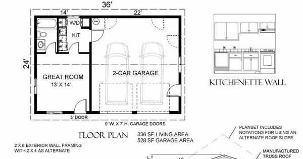 2 car garage with apartment plan 864 1rapt 36 x 24 39 by for Engineered garage plans