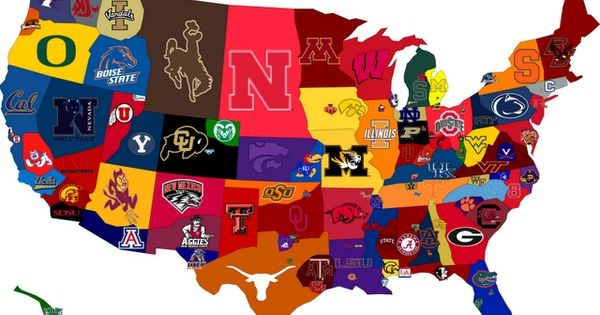 This is a map of all the college football teams, and the