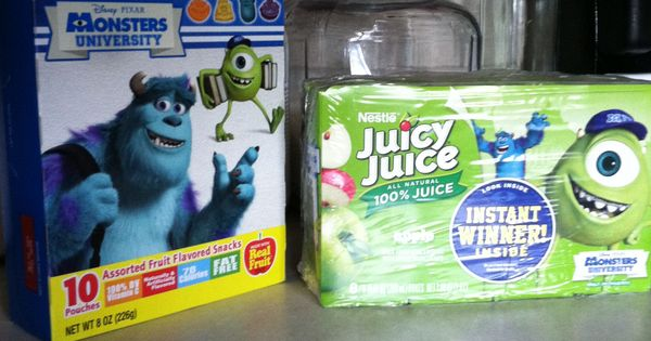 Monsters Inc stuff is out right now. Monsters Gummies and juice boxes ...