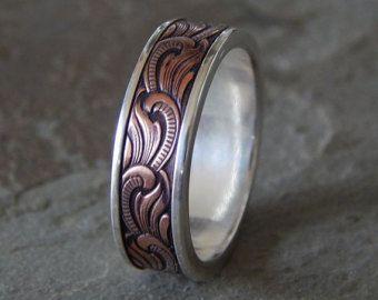 WOOD GRAIN Silver /& Copper   Men/'s Wedding Ring  Women/'s Wedding Ring  Men/'s Wedding Band  Women/'s Wedding Band  Unique Band