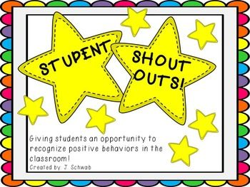 Student Shout Out Template Star Students Stars Classroom Student Rewards