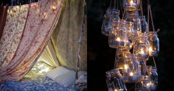 mason jar and tea light chandelier