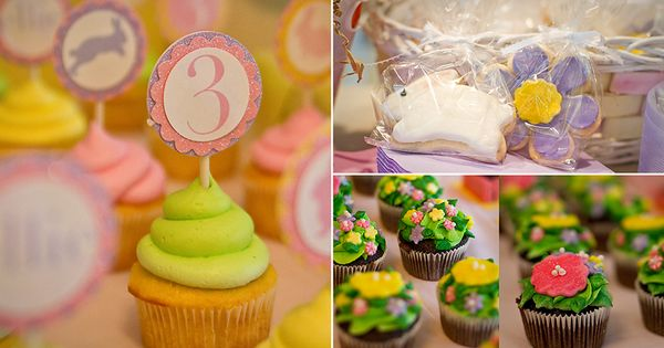 Cupcake toppers - bunny ears or bunny/3 circles