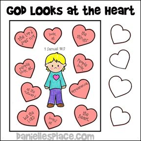God Looks At The Heart Activity Sheet Bible Lessons For Kids