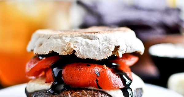 Asiago Portobello Burgers with Roasted Red Peppers Balsamic Glaze (English muffin)