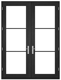 Pella Architect Series Contemporary Wood And Aluminum Clad Wood In Swing Hinged Patio Doors Pella Professional Hinged Patio Doors Patio Doors French Doors