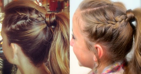 double french braids into high ponytail