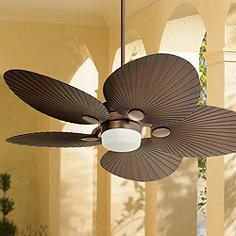 52 Oil Brushed Bronze Fan With Blades Shaped Like Palm Leaves Destinationtrexsweeps Outdoor Ceiling Fans Tropical Ceiling Fans Ceiling Fan