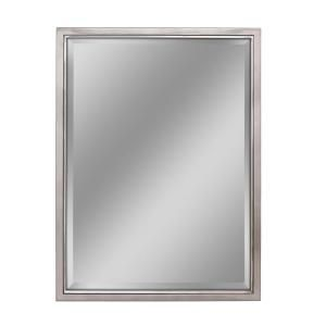 Deco Mirror 30 In W X 40 In H Framed Rectangular Beveled Edge Bathroom Vanity Mirror In Brush Nickel With Chrome Inner Lip 8773 The Home Depot Mirror Wall Vanity Wall