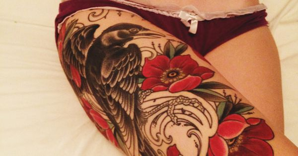 Thigh Tattoos For Girls | tattoos ink inked girls tattooed girls raven