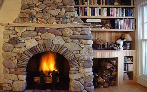Marvelous Stone Fireplace Design With Fancy Wooden Bookshelf Design Traditional Living Room