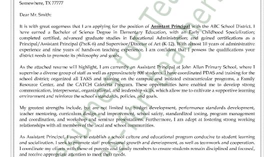Cover Letter Sample, Assistant Principal And Letter