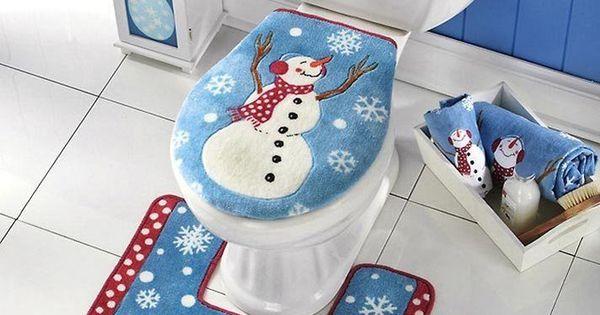 Soft Toilet Seat Cover And Rug Set Bathroom Christmas