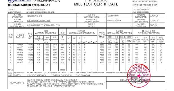 Aluzinc Mtc Mill Test Certificate Certificate Milling