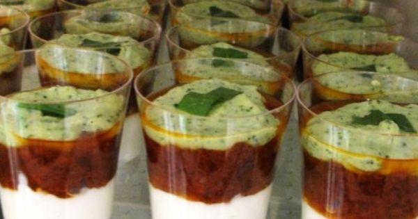verrines chèvres et tomates à la crème de courgette | Food ...