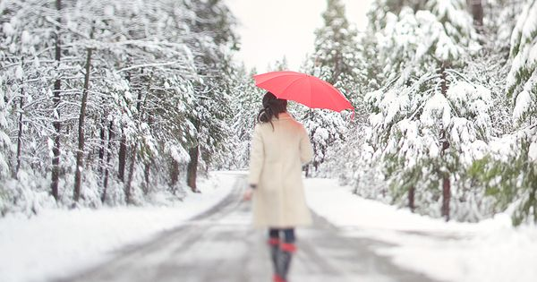 Christmas time is coming and this photo is beautiful. The red umbrella