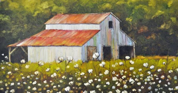 Cotton Field With Barn Cotton Field Painting Barn Cotton