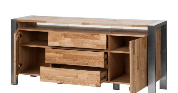 Sideboard Noah - Eiche massiv Edelstahl, gebürstet Home24 - sideboard für schlafzimmer