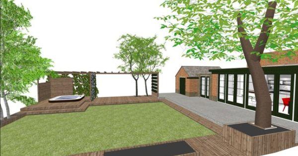 1e schetsontwerp voor terras uitbreiding aan uitbouw met veranda en houten vlonders ingebouwde - Uitbreiding veranda ...