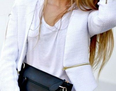 Street style! White blazer with leather pants