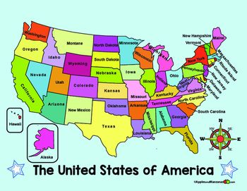 united states map with compass ENGLISH VERSION of two full color maps of the US. One map lists