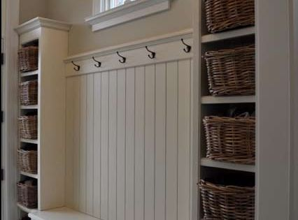 mud room idea for garage...Simple built-ins to create a mudroom or storage