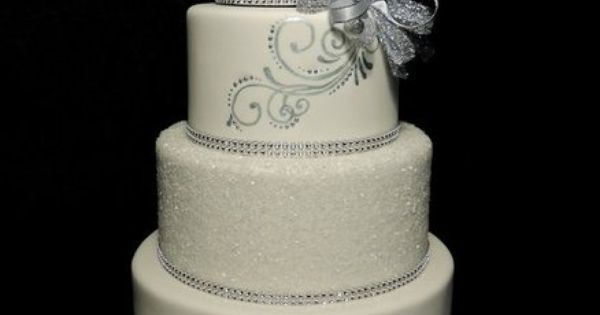 Silver sparkle, hand painted wedding cake Cakes ~ Highly ...