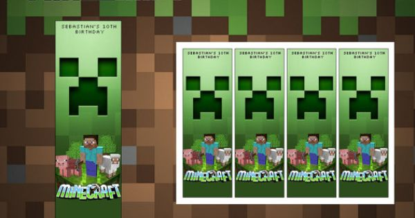 Minecraft printable bookmarks minecraft birthday party for Minecraft bookmark template