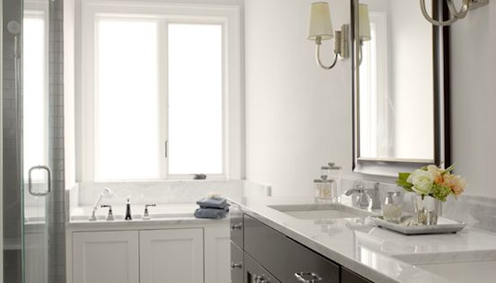 Graciela Rutkowski Interiors Bathrooms Gray Walls Espresso Stained Double Bathroom