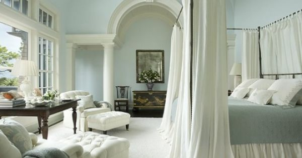Light blue & white bedroom with canopy bed. I'd like something like