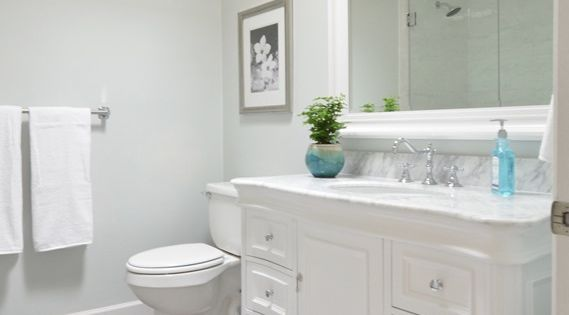 Beautiful Bathroom Remodel Walls Glidden Chelsea Fog