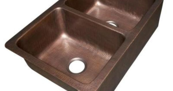Ecosinks Apron Front Dual Mount Hand Hammered Pure Copper 33x22x9 Double Bowl Farmhouse Kit Copper Kitchen Sink Farmhouse Sink Kitchen Double Bowl Kitchen Sink