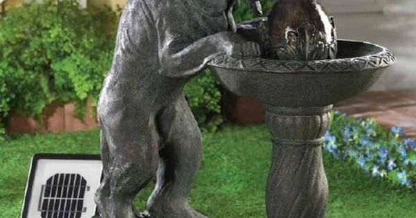 Solar Dog Pet Hound Statue Bird Bath Outdoor Patio Garden